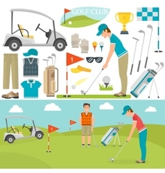 Golf icons and player vector image