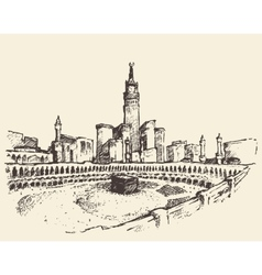 Holy kaaba mecca saudi arabia muslim sketch vector