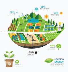 Infographic energy leaf shape template design vector image vector image