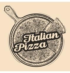 Italian pizza Hand drawn food Sketch vector image vector image