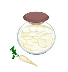 Jar of pickled white radish with malt vinegar vector