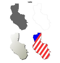 Lake county california outline map set vector