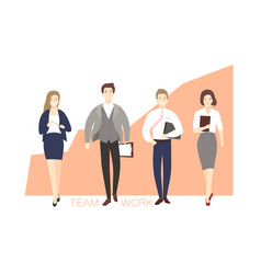 male and female office workers walking against vector image vector image
