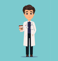 Medical doctor in white coat and holding cup of vector