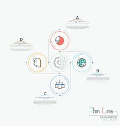 Modern infographic design template 4 circular vector