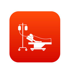 patient in bed on a drip icon digital red vector image
