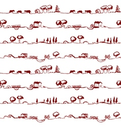 pattern with rural line landscape vector image