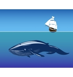 Sailing ship and huge whale in deep vector