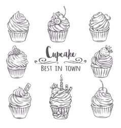 Set decorative hand drawn cupcakes vector image