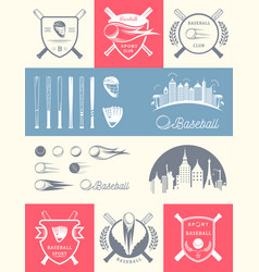 Set of vintage baseball logos and badges vector