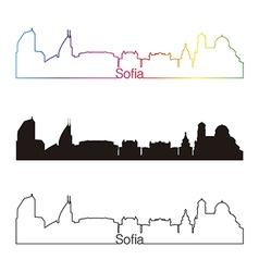 Sofia skyline linear style with rainbow vector