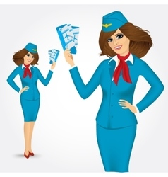Stewardess with tickets vector