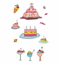 sweets and desserts vector image vector image