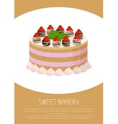 tasty cake with sweet liquid glaze between corns vector image vector image