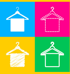 Towel on hanger sign four styles of icon on four vector