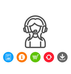 User support line icon female profile sign vector