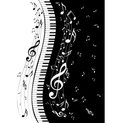 Piano keyboard with music notes3 vector