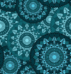 Seamless pattern with circular floral ornaments vector