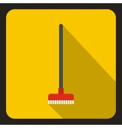 Red brush for a floor icon flat style vector