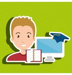 Man student pc books vector