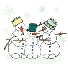 Humorous winter snowman vector