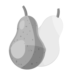 Pear icon gray monochrome style vector