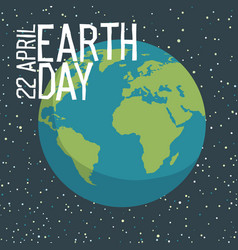 Earth day poster design in flat style planet in vector