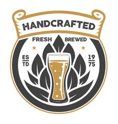 Handcrafted beer brewery retro sign vector