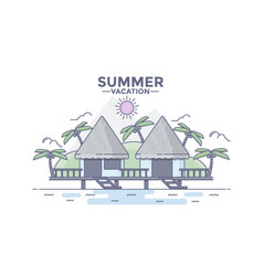 Flat line design hero image- beach house vector