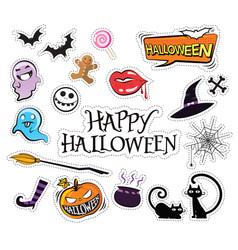 Set of cartoon graphic design halloween icons vector