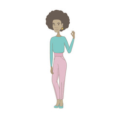 Young african hippie woman showing ok sign vector