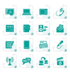 Stylized communication and connection icons vector