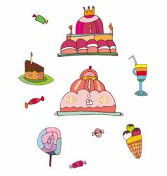 Sweets and desserts set vector