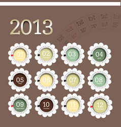 2013 calendar in flower form vector image