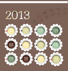 2013 calendar in flower form vector image