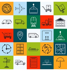 Logistics contour icons vector