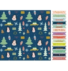 Christmas and new year greeting pattern vector