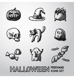 Set of freehand halloween icons -pumpkin witch vector