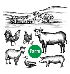 Hand drawn farm set vector