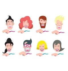 Avatars of people cleaning teeth vector