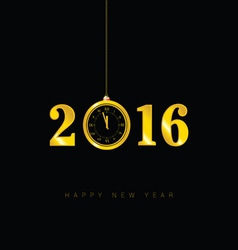 Happy new year clock 2016 vector