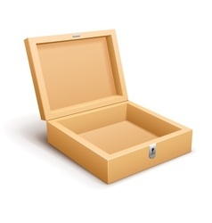 Open empty wooden box isolated vector