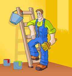painter in orange room vector image