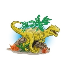 Scary dinosaur in jungle vector
