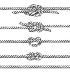 White twisted rope border set vector image