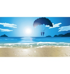 Couple parasailing by the beach vector