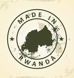 Stamp with map of rwanda vector