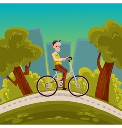 Elderly man with a beard riding bicycle vector
