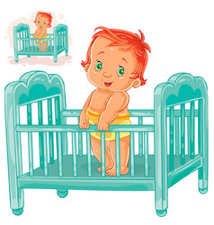 baby is in his cot vector image vector image