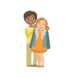 Boy Putting His Coat Around Girl s Shoulders vector image vector image